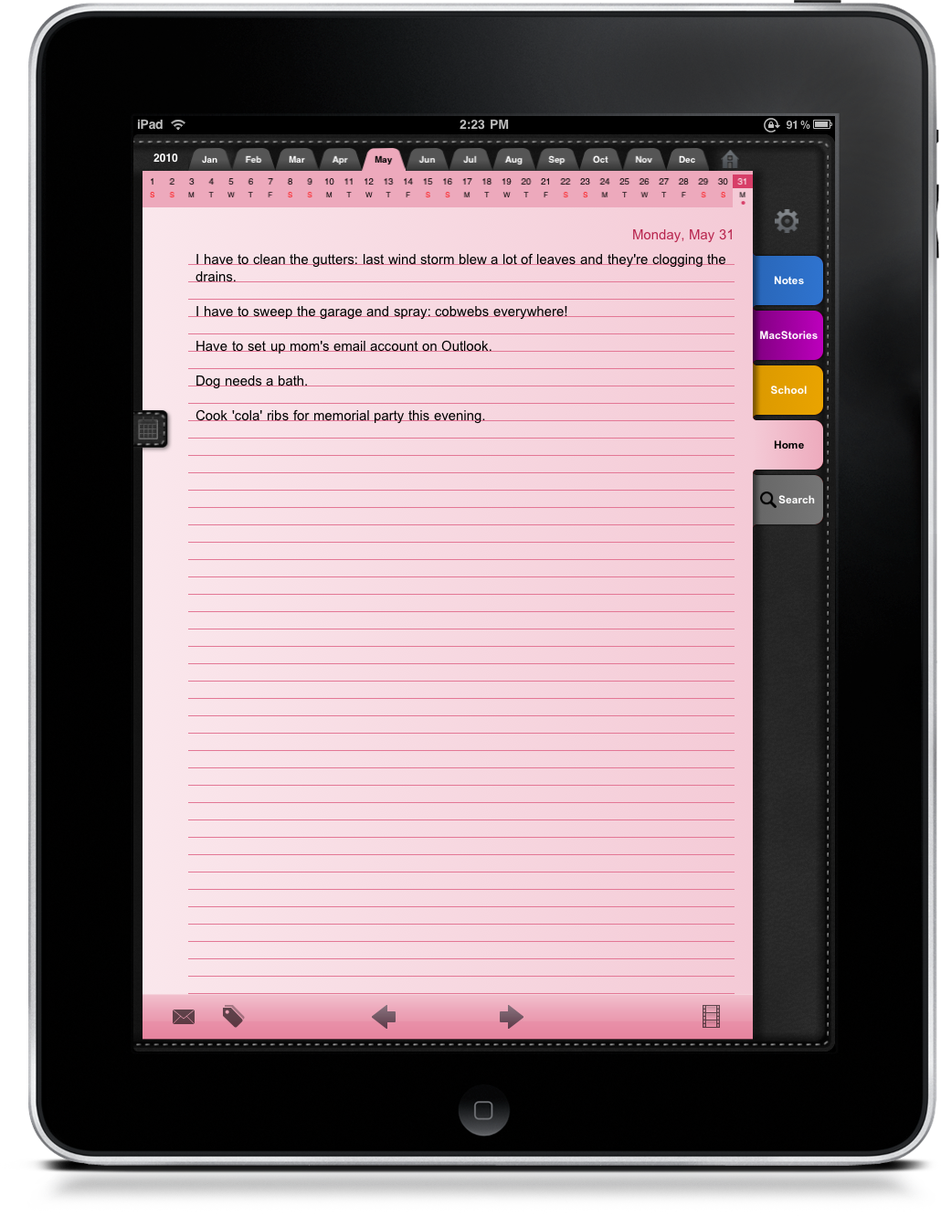 Calendar Notebook App : Daily notes is your leather bound notepad for ipad